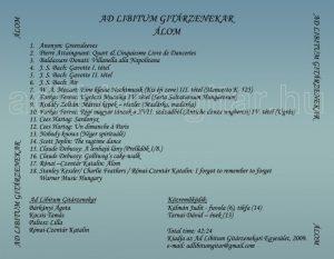 Ad Libitum Gitárzenekar – Az első, 2009-ben Álom címmel kiadott CD zeneszámai