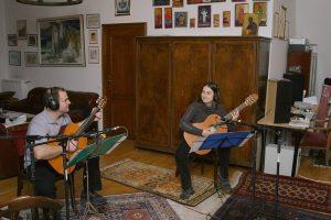 The Ad Libitum Guitar Ensemble in a music studio – 2012 (Tamás Kocsis, Ágota Bárkányi)