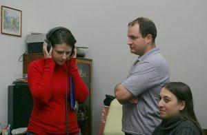 The Ad Libitum Guitar Ensemble in a music studio – 2012 (Katalin Rónai-Czentár, Tamás Kocsis, Ágota Bárkányi)